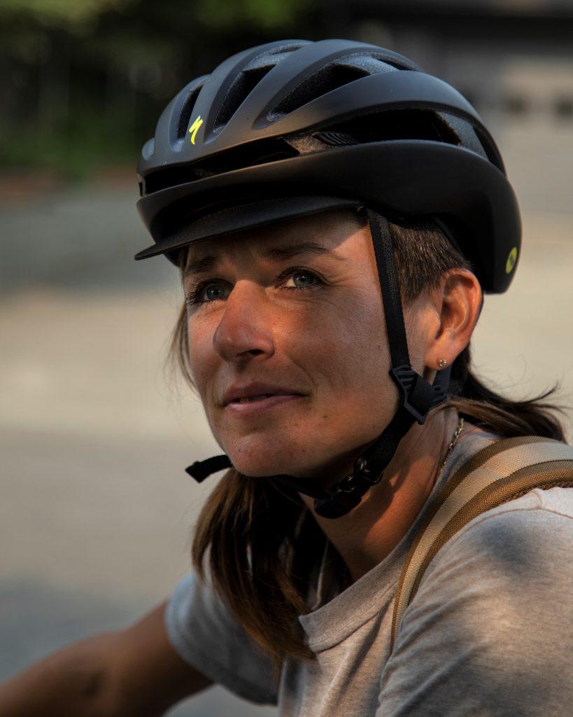 Lael Wilcox with bike helmet