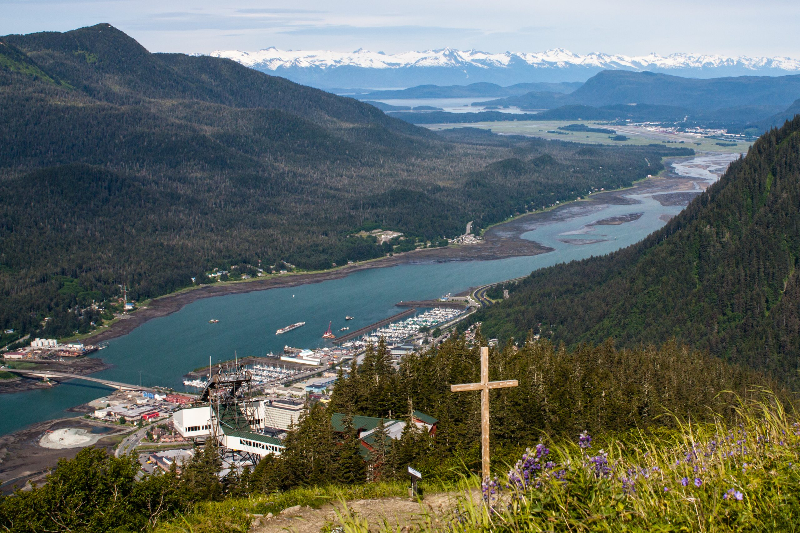 downtown juneau and Gastineau channel elevation on mt roberts cross in foreground