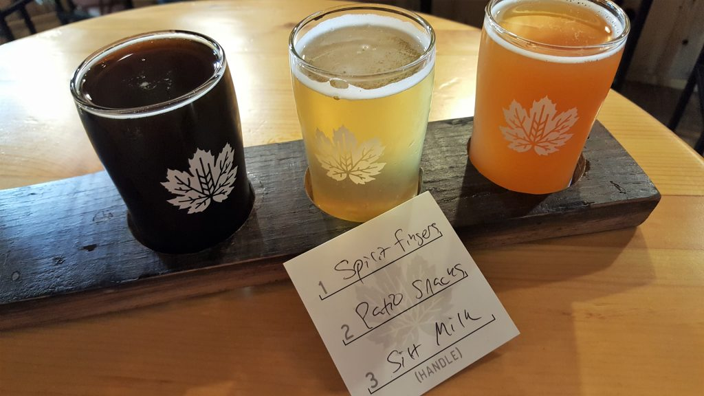 A flight of beer from Devil's Club Brewing Co.
