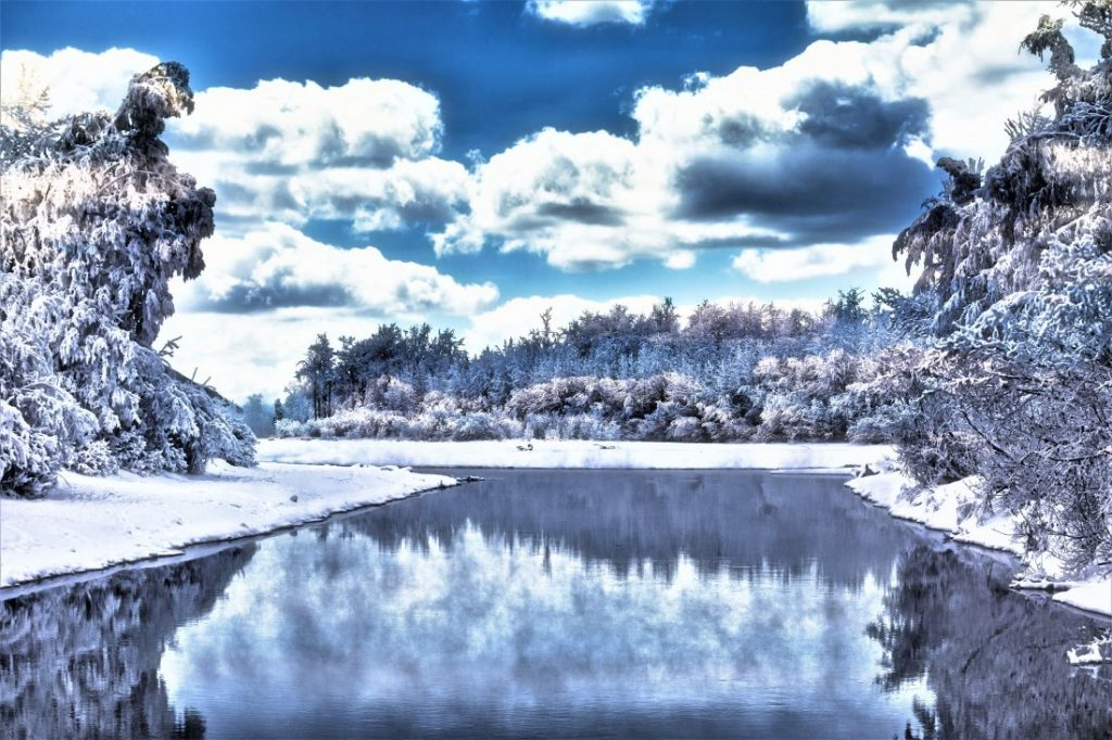Snowy landscape at Eklutna tailrace