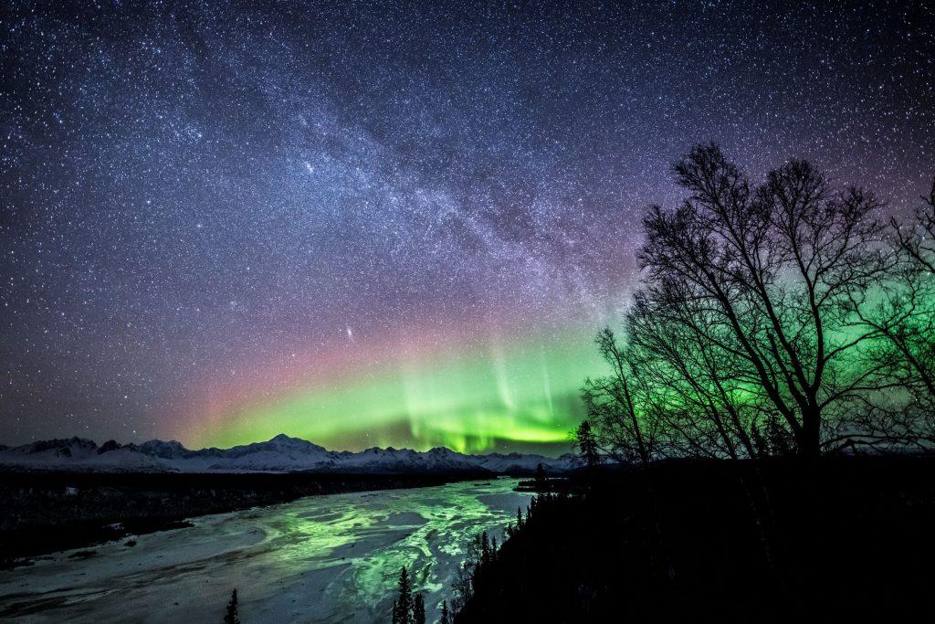 Aurora backlight Denali starry night