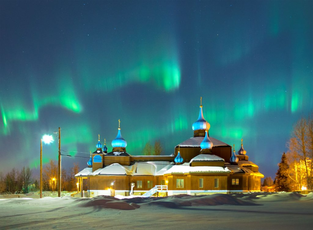 Aurora above St. Innocent Orthodox Cathedral Anchorage
