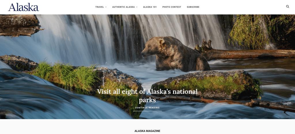 The homepage of alaskamagazine.com