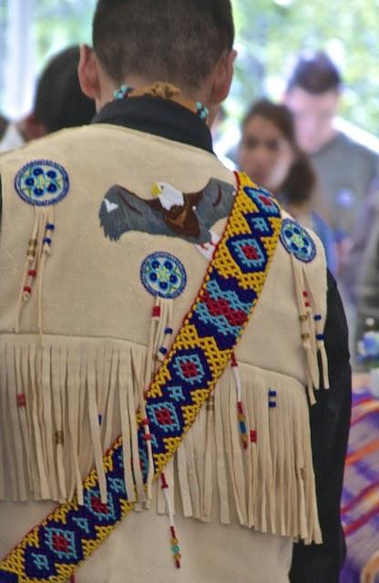 Athabascan man wearing ceremonial clothing.