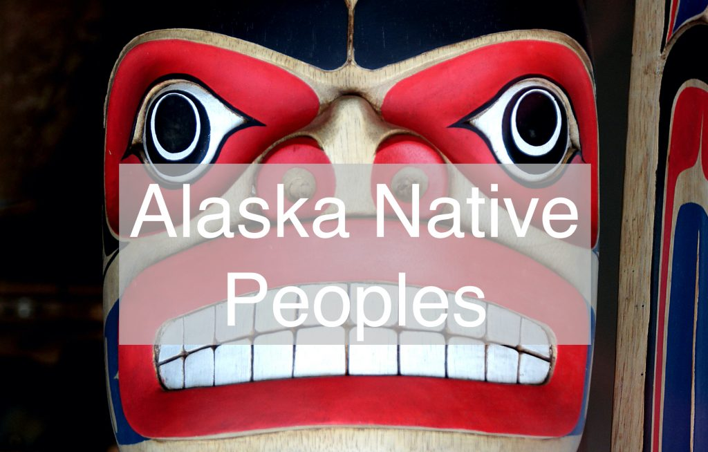 Alaska Native People text over totem face
