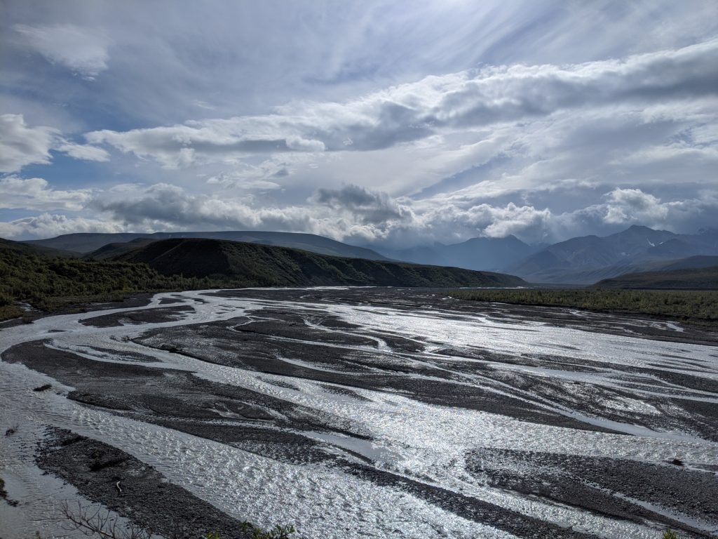 Braided river weaves through a landscape