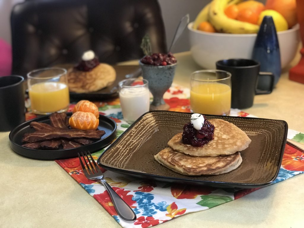 completed sourdough pancakes recipe with compote and creme fraiche