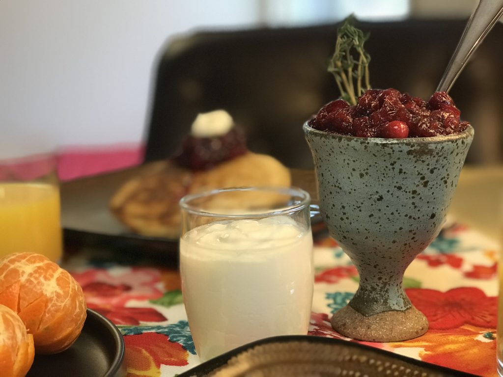 Cranberry-thyme compote and creme fraiche