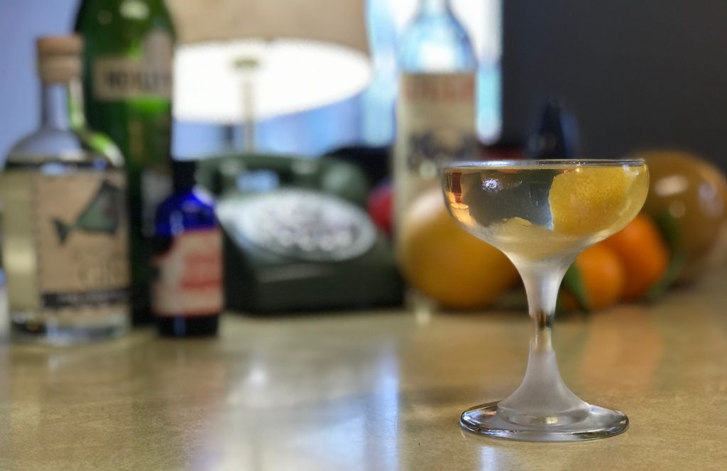 Coupe glass with citrus garnish