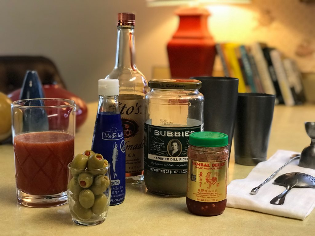 vodka, olives, tomato juice, and other ingredients