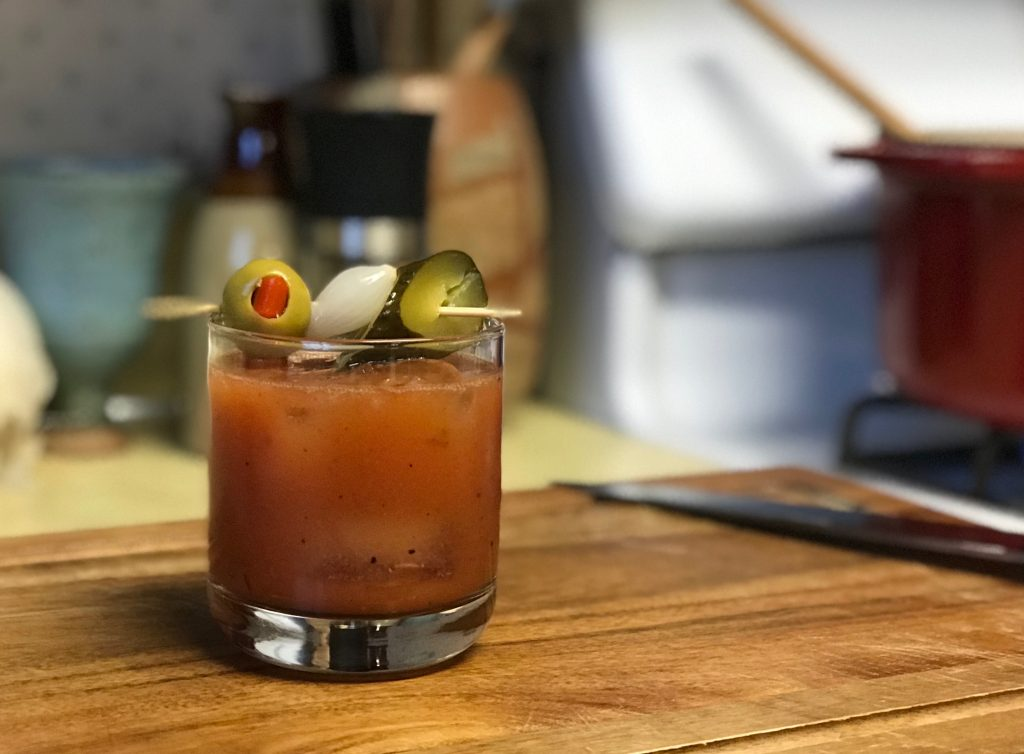 bloody mary in rocks glass