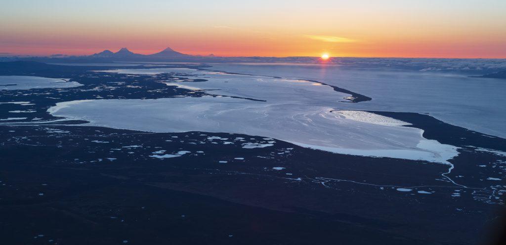 A lagoon at sunset.