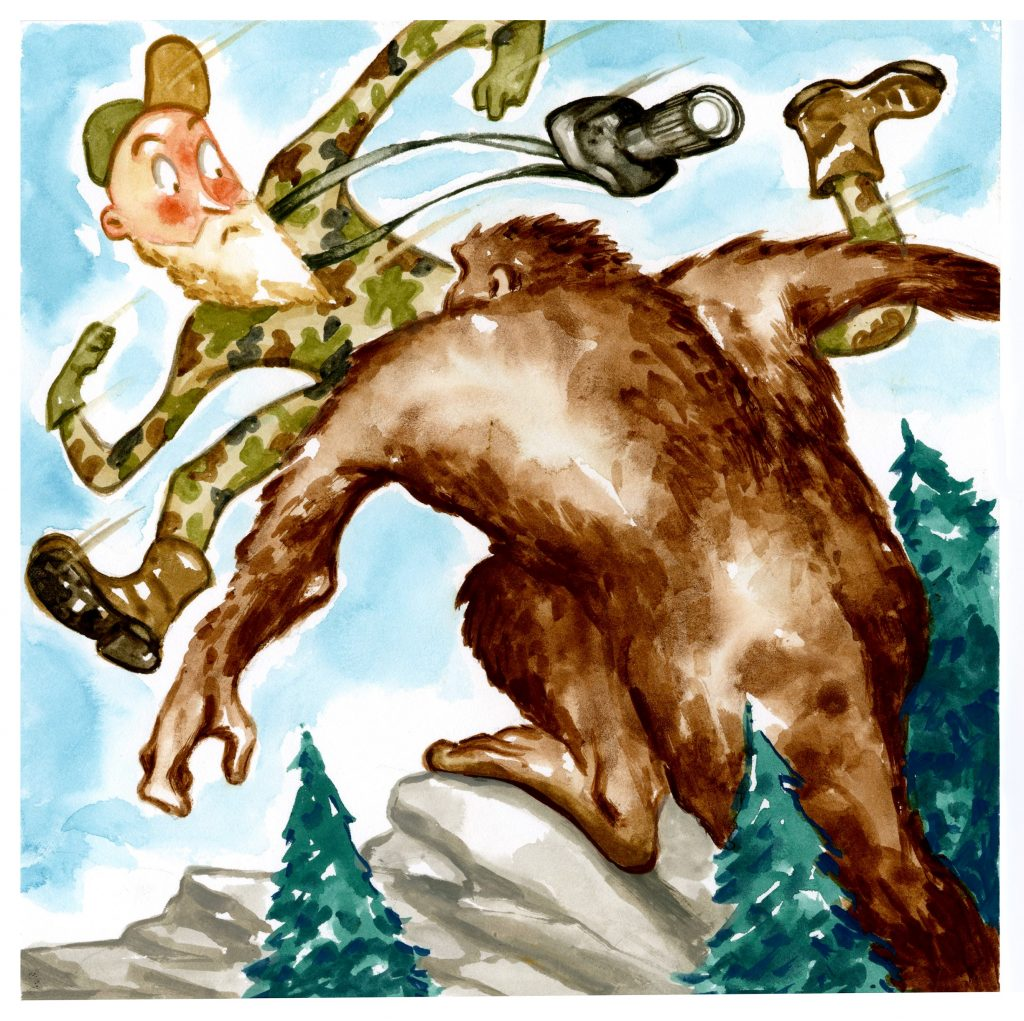cartoon of photographer jumping from sasquatch