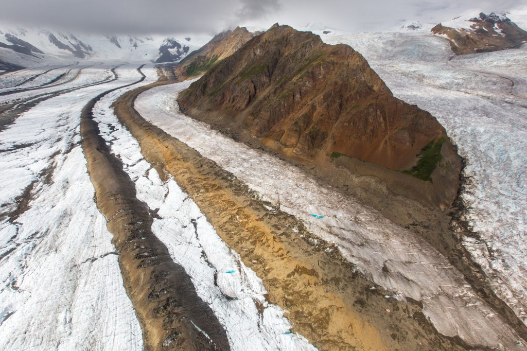 Medial morraines on Kennicott Glacier (left), Packsaddle Island (center), La Chapelle (right)