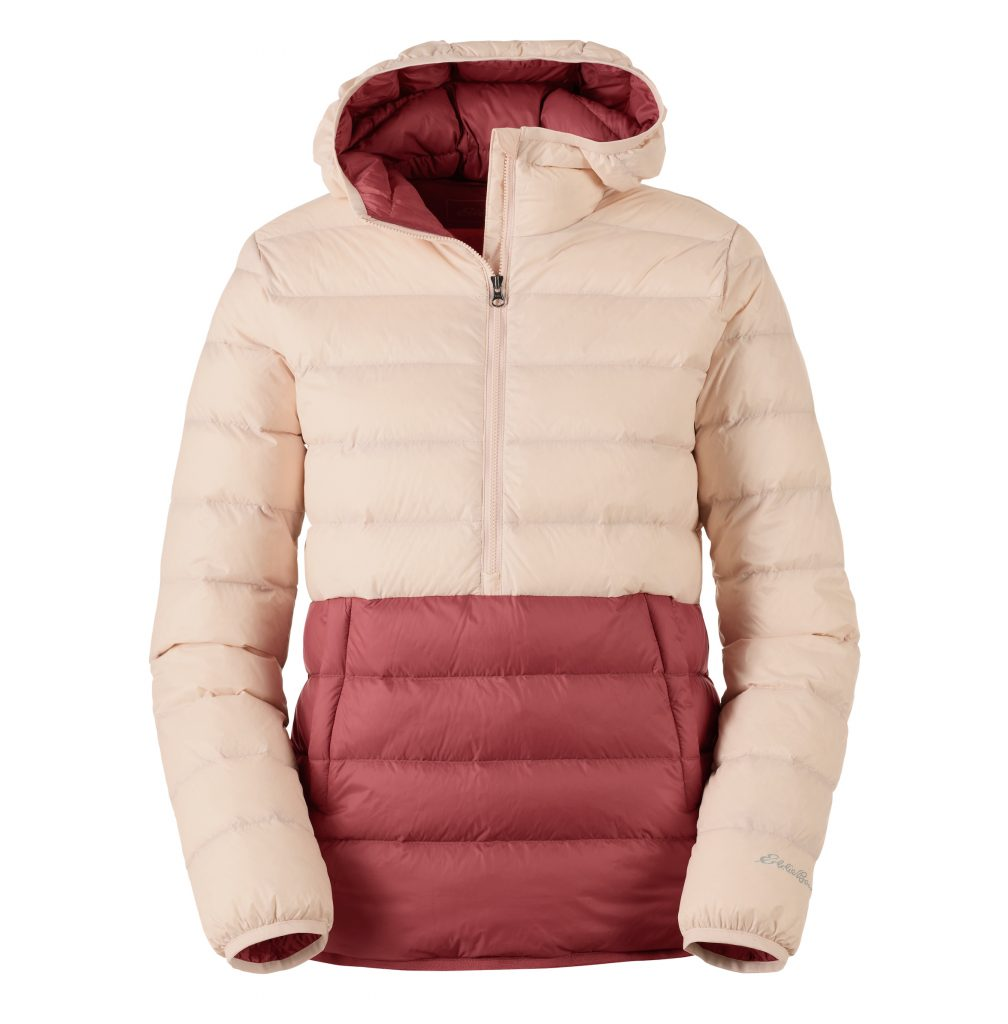 puffy pink pullover jacket with hood