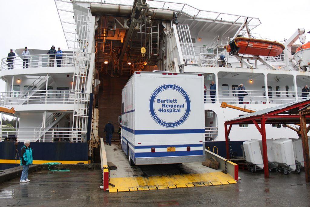 Bartlett Regional Hospital truck on ramp for loading ferry