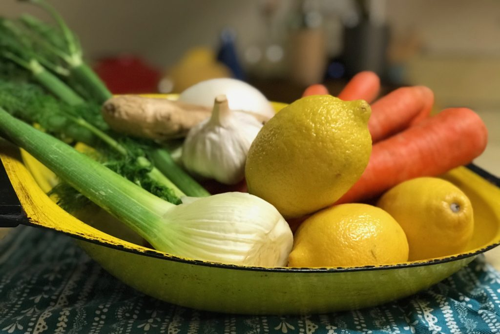 bowl of carrots, lemon, garlic, fennel