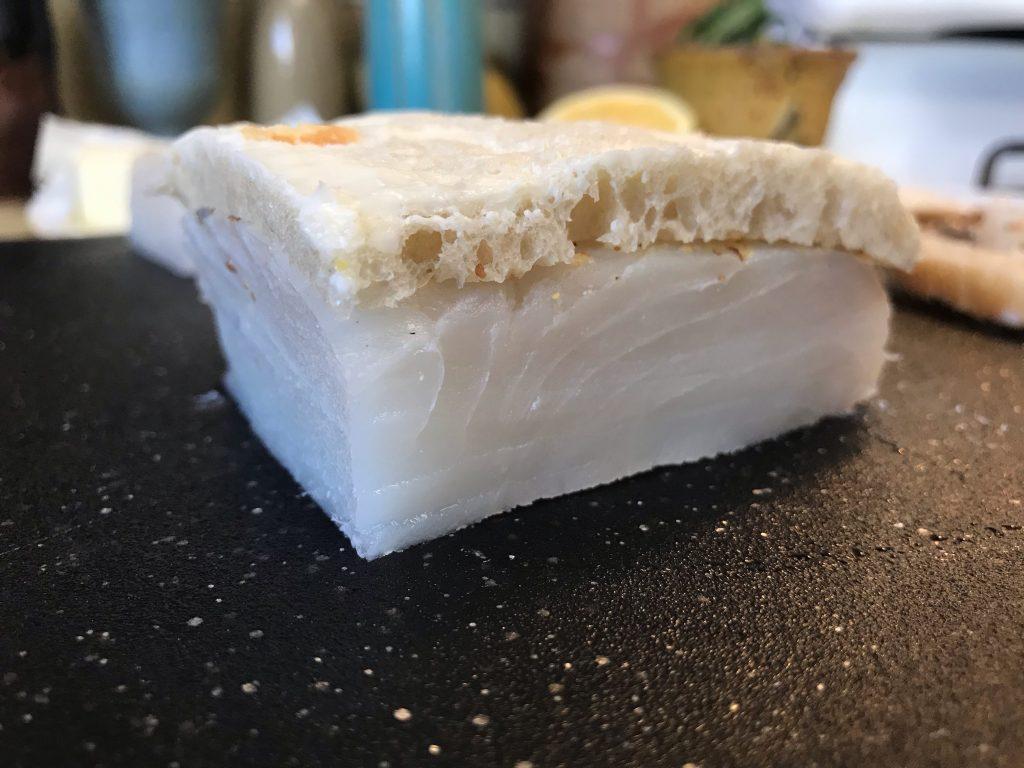 bread cut flush with halibut