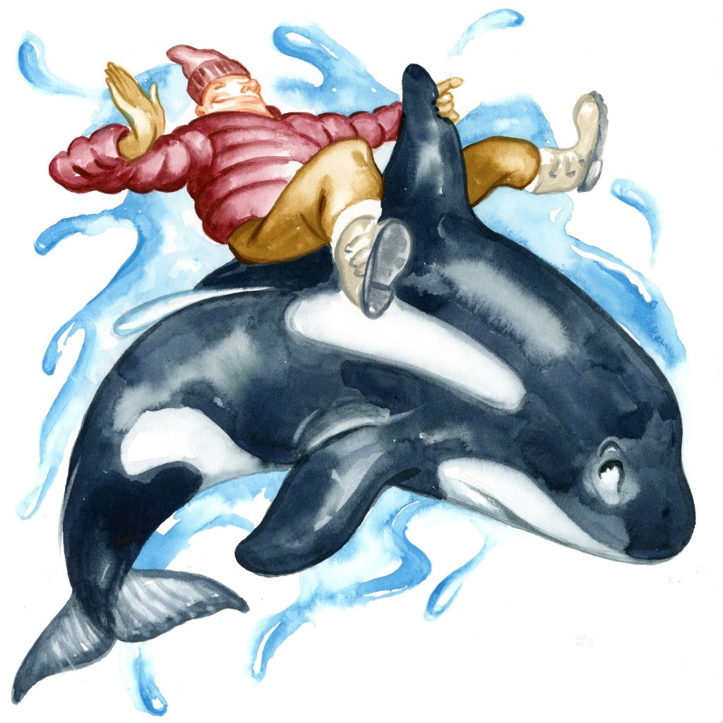 illustration of guy riding a whale