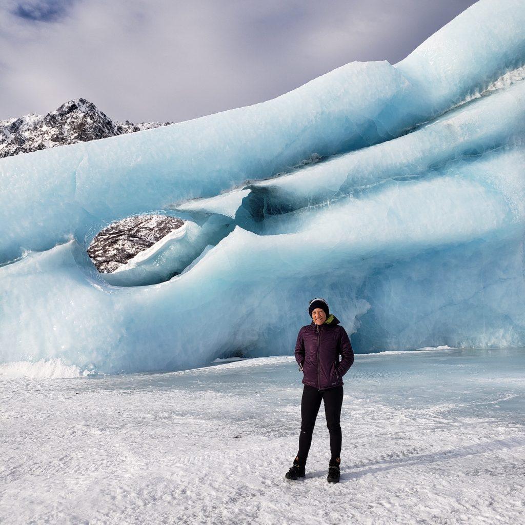 Lisa Keller standing on a glacier