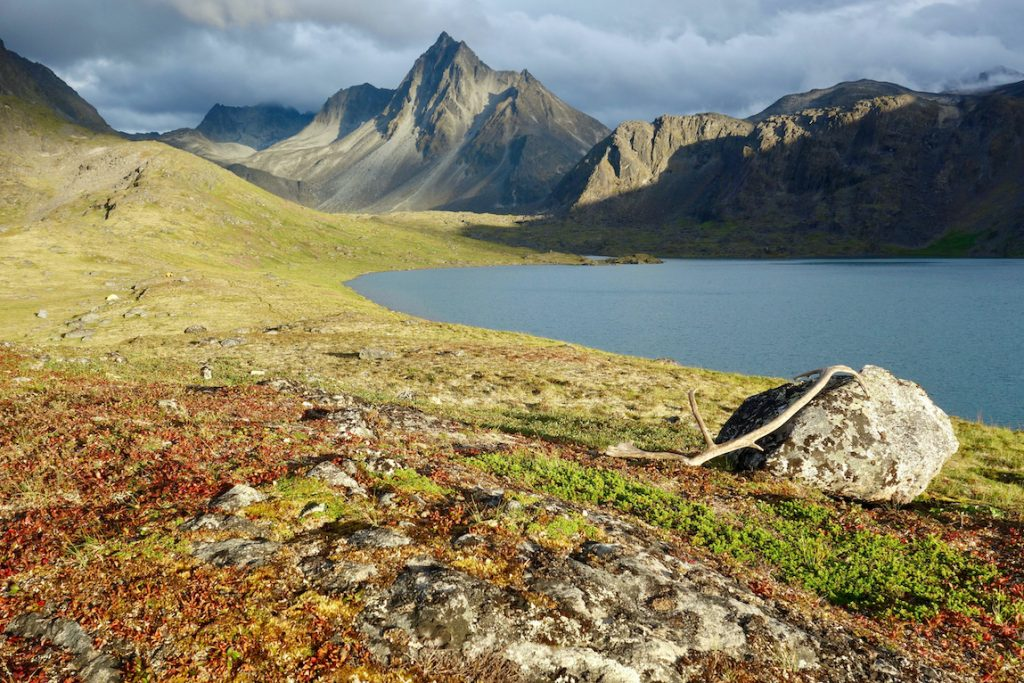 Mountain lake with a caribou antler shed leaning against a rock in the foreground