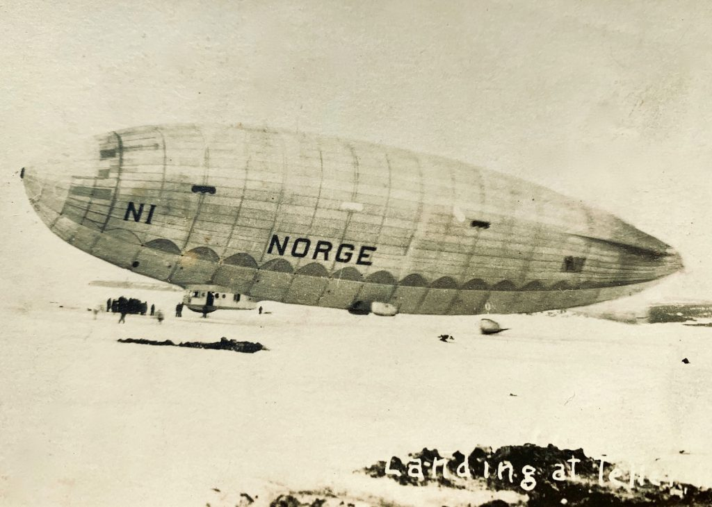 Sepia photo of the airship Norge landed on snow and ice
