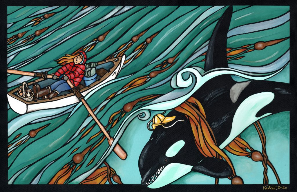 Woman in red jacket rowing boat over a kelp forest with orca whale in a hat swimming underneath