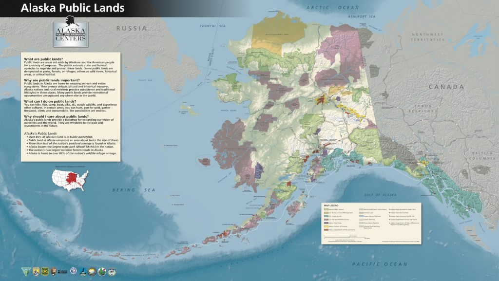 Patchwork colored map of Alaska's public lands