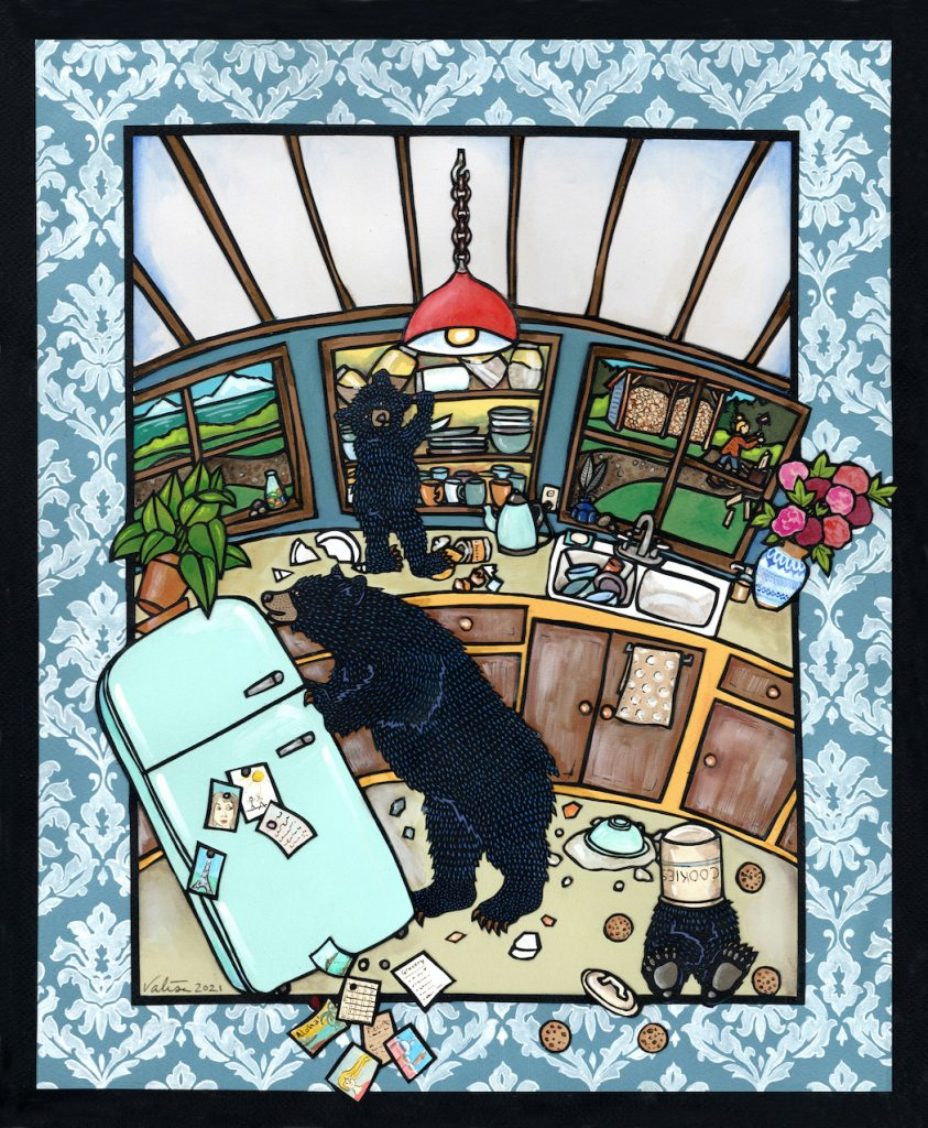 Art of mother black bear and two cubs ransacking a kitchen