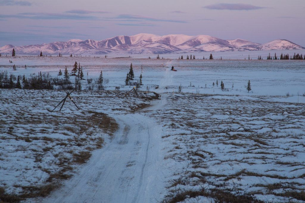 Patchy snow covers the ground and trail across grassy field with sparse trees. Alpenglow on mountains.