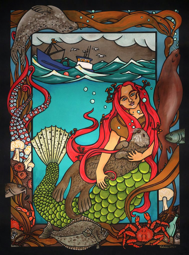 Art of mermaid underwater holding a sea otter and a fishing trawler on the surface above. Seal, octopus, halibut, and crab in the border.
