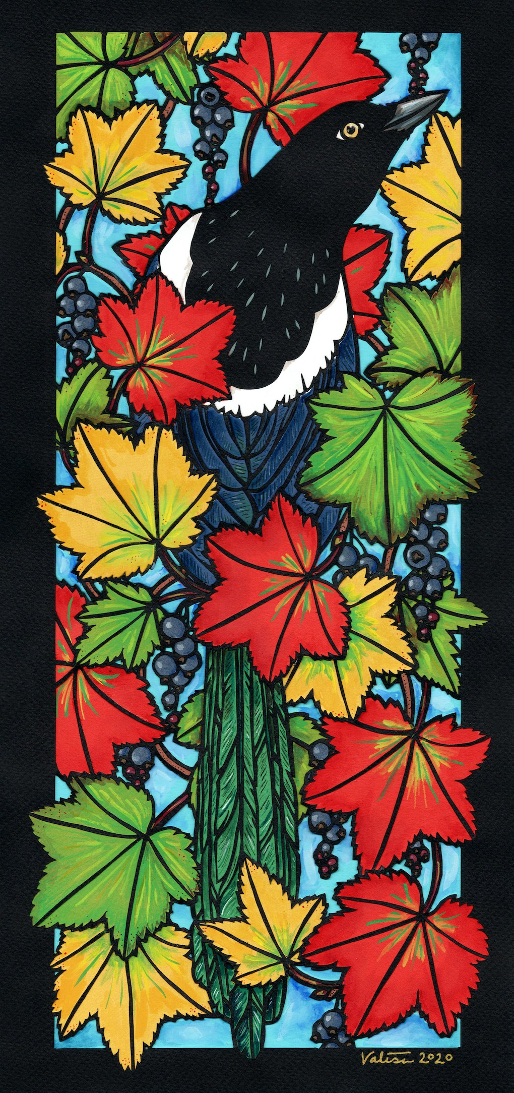 Artwork of magpie amid red, green, and yellow black currant leaves