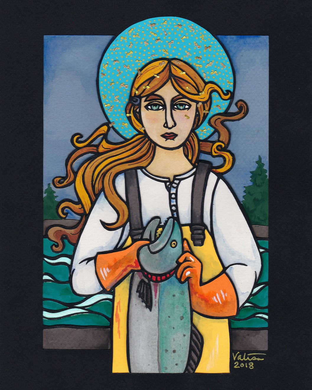 Artwork of a woman in fishing bib and gloves holds salmon by the gills and stands under a full moon