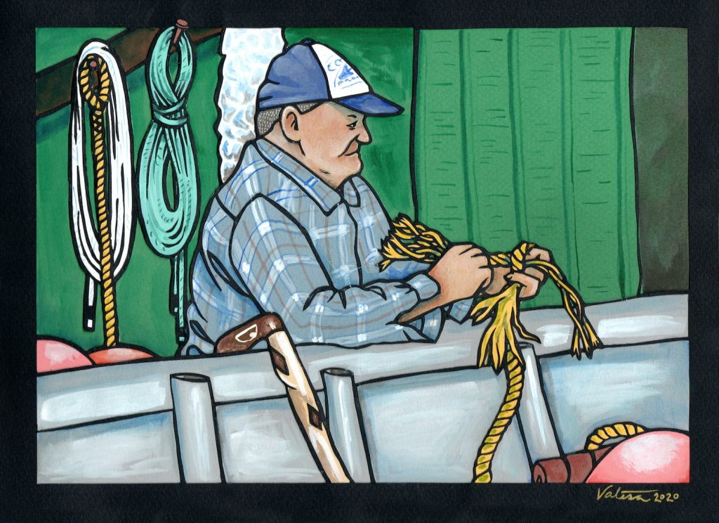Artwork of man in hat and flanel on fishing boat splicing rope
