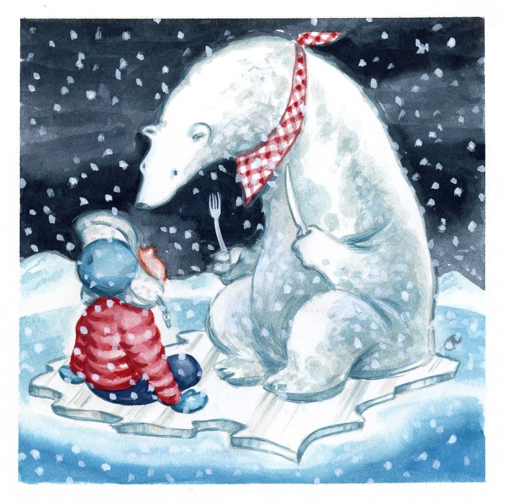 Polar bear wearing a checkered bib and holding a fork and knife towers over a small child