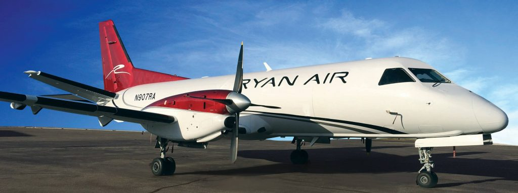 Turboprop plane branded Ryan Air