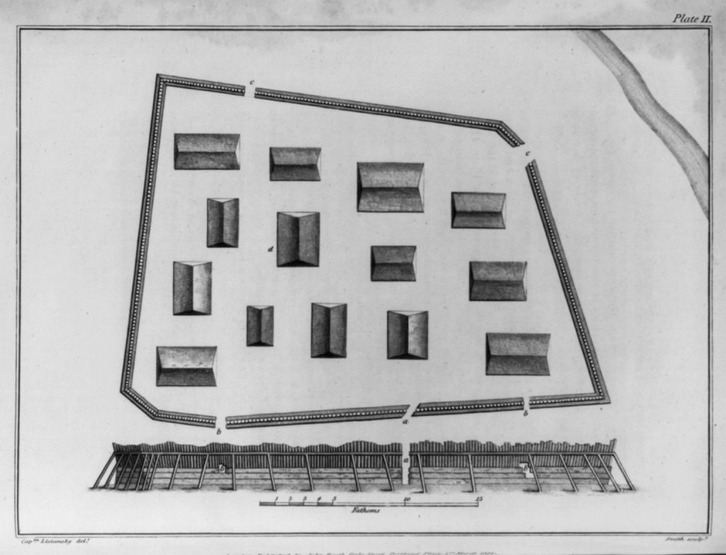 Sketch of trapezoid shape surrounding buildings