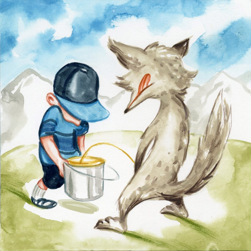 drawing of wolf standing on two legs and peeing into a bucket held by a kid with a ballcap on