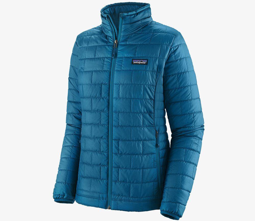 blue puffy Patagonia jacket