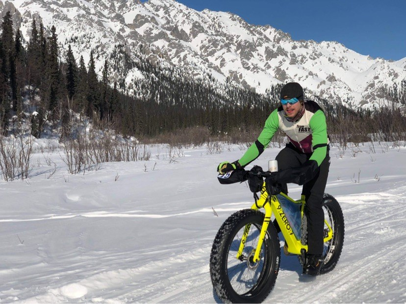 Tyson Flaharty on a fat-tire bike riding in winter