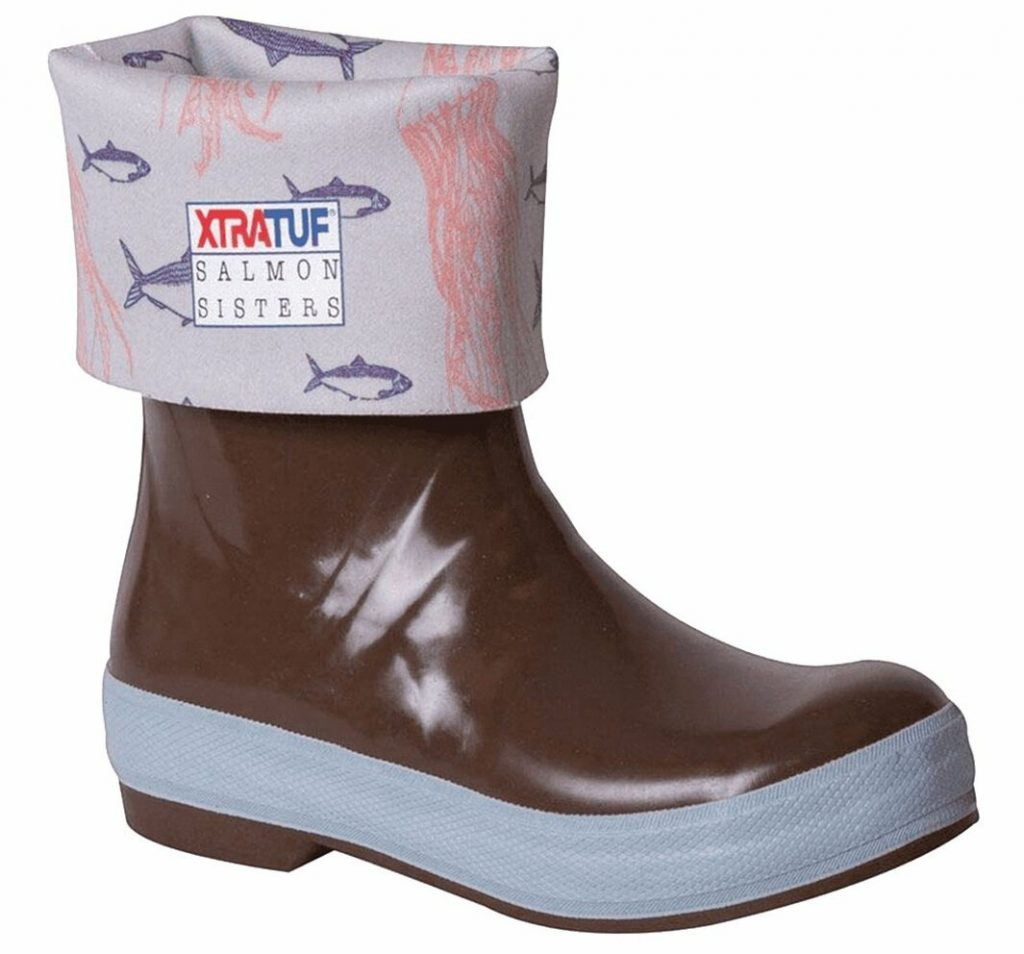 XTRATUF rubber boot with salmon design on inside