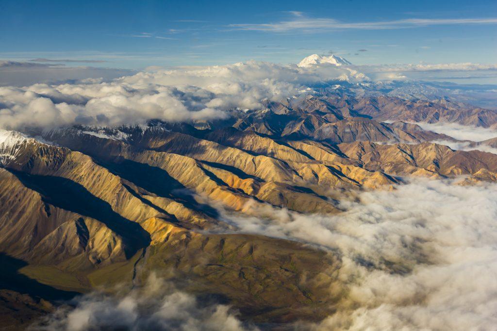 Aerial of ridgelines leading to Alaska Range near Mount Denali