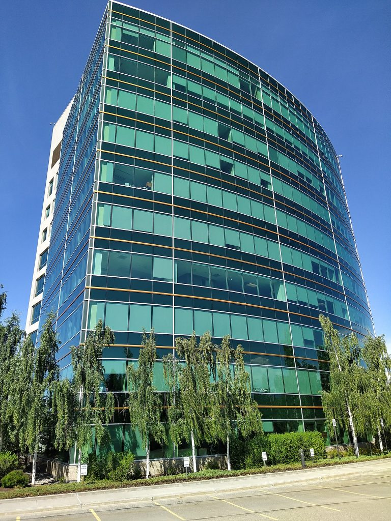Multistory glass office building