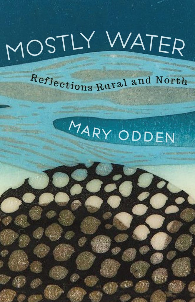 The book cover of mostly water showing stacked wood on the bottom and a river on top